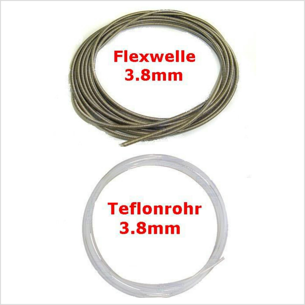 ".150""(3.8mm) Flex cable c/w Telfon Tubing in 500mm long"